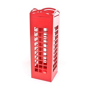 CKB Ltd® RED Rot London Phone Box Umbrella Holder Traditonal English Telefonzelle – metall Schirmständer mit Wasserauffangschale Haken auch für Canes / Walking-Stöcke