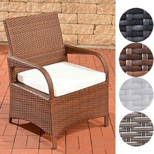 CLP Polyrattan-Gartenstuhl Pizzo mit Sitzkissen I Outdoor-Stuhl mit robustem Untergestell aus Aluminium, Farbe:braun…