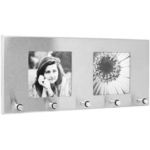 com-four® Schlüsselleiste aus Edelstahl mit fünf Schlüsselhaken und Bilderrahmen für Zwei Bilder