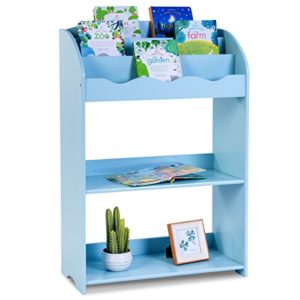 COSTWAY Bücherregal Kinder Aufbewahrungsregal Kinderregal Wandregal Wandablage Spielzeugregal Bücherschrank Regal 62x28x90cm