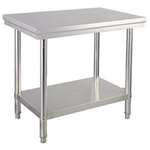 COSTWAY Edelstahl Küchentisch Arbeitstisch Gastro Tisch Edelstahltisch Zubereitungstisch mit Zwischenbord 92x61x90cm