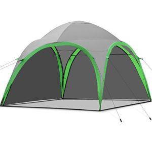 COSTWAY Strandzelt Kuppelzelt, Strandmuschel für Strand Camping Festivals, Partyzelt Pavillon inkl. Tragetasche, Gartenzelt 3,2×3,2×2,5m