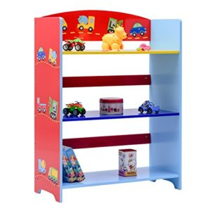 COSTWAY Kinderregal Bücherregal Aufbewahrungsregal Bücherschrank Spielzeugregal Standregal Kinder-Auto -Regal 3 fächer