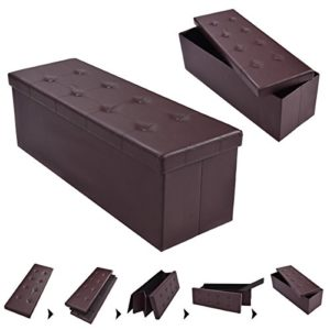 FDS COSTWAY Sitzhocker Sitzbank faltbar Sitzbox Aufbewahrungsbox Sitzwürfel Hocker Bank Sitztruhe Truhe Sitzkasten Polsterhocker PVC-Leder Farbwahl 114 x 38 x 38cm