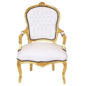 Casa Padrino Barock Salon Stuhl Weiß/Gold – Möbel Antik Stil