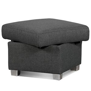 Cavadore Hocker Tuluza mit Stauraum/Sofa-Hocker grau passsend zur Sofagarnitur Tuluza/Modernes Design