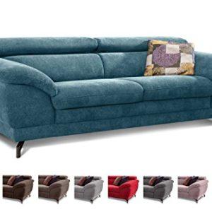 Cavadore Sofa Sheldon / Große Couch mit verstellbaren Kopfstützen im modernen Design