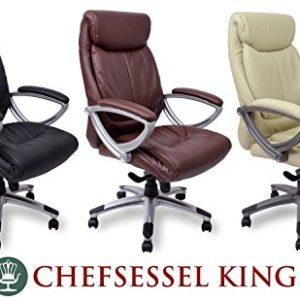 Chefsessel Kings – Schwarz Creme Braun – Bürostuhl Schreibtischstuhl Drehstuhl Sessel Stuhl PokerStuhl Casinostuhl