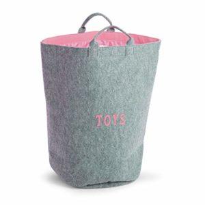 Childhome CCFTBRSP Filz Spielzeug-Tasche TOYS grau rosa