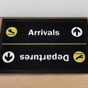 Close Up Fußmatte – Arrivals/Departures – waschbare Türmatte (40 x 60 cm) – Schwarz gelb
