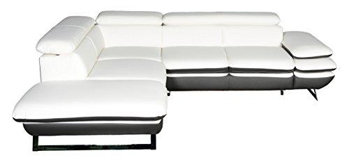 Cotta Prestige Polsterecke, Lederimitat, Weiss/grau, 223x265x74 cm