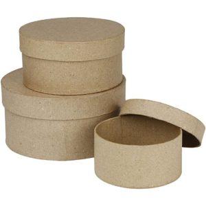 Schachteln, rund, 10+13+16 cm, 3 sort.