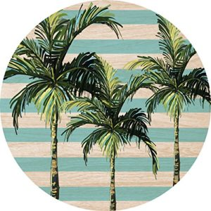Cuadros Lifestyle 2D-Wandobjekt aus Holz | Palmen | Streifen | Wandteller | Holzbild | Shabby-Look | Landhaus | Vintage | Holzobjekt | Deko | Holzdruck | Geschenk