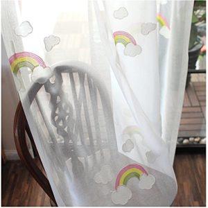 CYSTYLE 1er Regenbogen Schal Vorhang Dekosachl Transparent Gardinen Kinderzimmer Mädchen Junge
