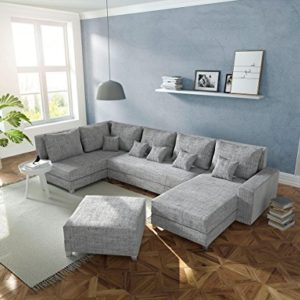 DELIFE Couch Panama Hellgrau Ottomane Links Longchair rechts mit Hocker Wohnlandschaft