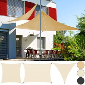 Detex® Sonnensegel Sonnenschutz Windschutz | HDPE Gewebe | wasserabweisend & windabweisend | Rechteck 2x4m | 7-Fach quer vernäht | robust & stabil | anthrazit | Modellauswahl