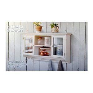 DRULINE Wandschrank Wandgarderobe Wandvitrine aus Holz in Weiß in Shabby-Chic Stil 60 cm x 34 cm x 15 cm
