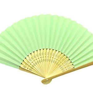Da. WA 1Piece DIY Paper Fan Folding Fan Children Painted by Hand Fan Bamboo Decorative Hand Fan for Wedding Dance Evening Party Costume Mask Carnival, Light Green