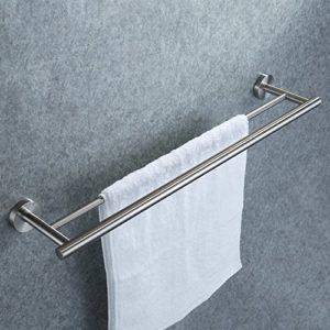 Dailyart Edelstahl Beweglich Handtuchhalter mit 2 Armen Elegance Handtuchhalter Handtuchstange zur Wandmontage – Befestigen ohne Bohren, 47.3 x 5.9 x 9.3 cm