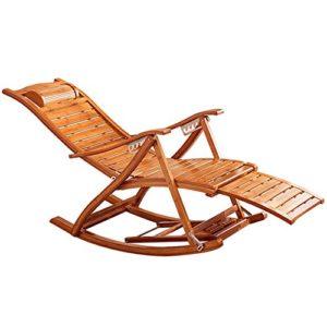 Deckchairs Feifei Bambus Schaukelstuhl Erwachsene Lounge Stuhl Nickerchen Stuhl Faul Stuhl Home Freizeit Schaukelstuhl Balkon Zusammenklappbar (Farbe : B)