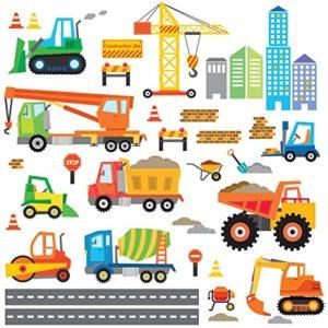 DECOWALL DW-1612 Bau Baustelle Transporte Autos Fahrzeuge Wandtattoo Wandsticker Wandaufkleber Wanddeko für Wohnzimmer…