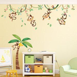 DECOWALL DA-1507 Affen Weinrebe Tiere Wandtattoo Wandsticker Wandaufkleber Wanddeko für Wohnzimmer Schlafzimmer…