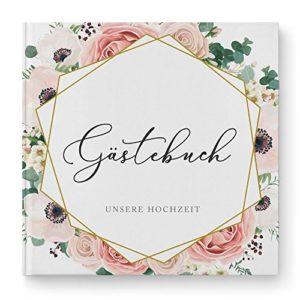 DeinWeddingshop Gästebuch Hochzeit ohne Fragen Modern Floral Boho – Hochzeitsgästebuch, Hardcover 21×21 cm, rosé weiß