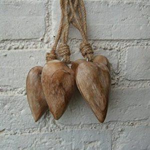 Deko-Hänger, Herz, 4er-Set, Herzanhänger, Mango-Holz, geschliffen