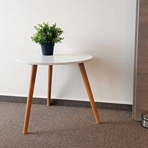 Design Couchtisch weiß – Retro Beistelltisch 48 cm – Holz Deko Tisch Sofatisch