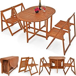 Deuba Balkonset Garnitur 4+1 aus Akazien Hartholz | platzsparend zusammenklappbar | Verschiedene Aufstellmöglichkeiten – Sitzgruppe Sitzgarnitur Balkontisch 5 TLG. Balkon Möbel Set