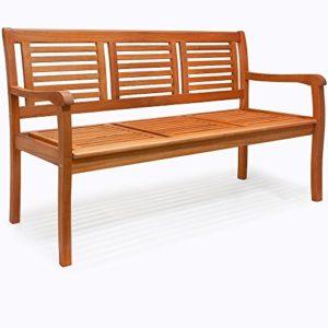Deuba Gartenbank Bologna | 3-Sitzer | FSC®-zertifiziertes Eukalyptusholz | ergonomisch | witterunsbeständig | Sitzbank Holzbank Parkbank Balkonbank Bank