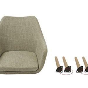 Esszimmerstuhl aus Stoff (Leinen) oder Kunstleder Farbauswahl Retro Design Armlehnstuhl mit Rückenlehne Holzbeine WY…