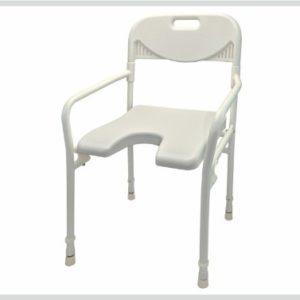 Duschhocker mit Arm- und Rückenlehne, Farbe:weiß – Badehocker, Hocker, Duschstuhl, Duschsitz, Duschschemel
