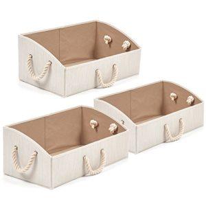 EZOWare Baumwolle Aufbewahrungsbox, Trapezoid Aufbewahrungskorb mit starken Griffen – 3er Set