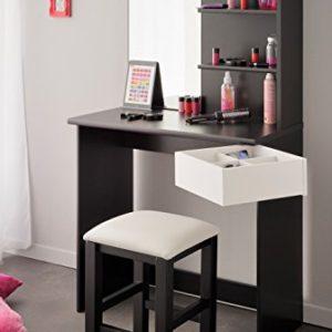 Eck-Schminktisch inkl. Hocker und Make up Spiegel Mädchen Kinderzimmer Frisierkommode Frisiertisch Schminkspiegel…