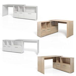 Eckschreibtisch 136 x 75 cm Weiß/Eiche Sonoma – Schreibtisch Arbeitstisch Winkelschreibtisch Bürotisch