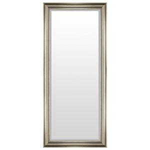 Multistore 2002 Eleganter Wandspiegel Flurspiegel Garderobenspiegel Frisierspiegel Spiegel mit Facettenschliff 140x60cm – Silbergold