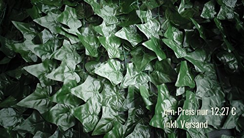 Endlich wieder da – Sichtschutz Kunsthecke Efeu – 2,80 x 1,45 m – schnell angebracht – inkl. Versand – künstliche Hecke – Kunststoffhecke – Blattnachbildung Efeu