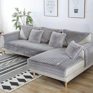 FDJKGFHGFCGDFGDG Volle Deckung schonbezug Sofa,Winter Anti-rutsch plüsch sofabezug Rückenlehne zu Decken Moderne…