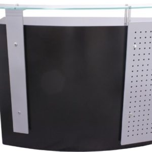 FIGARO Rezeption Rezeptionstheke mit Frontblende sowie Glasablage Farbe Silbergrau/weiß