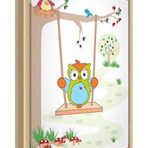 Feel Good Art eco-printed & gerahmt Kinderzimmer Leinwand mit Natur massiv Holzrahmen ≪ Wally die Eule auf einer Schaukel mit Boo The Baby Eule ≫, mehrfarbig, 44x 34x 3cm (mittel)