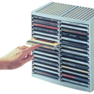 Fellowes 9823003 CD-Regal mit Federmechanik, Grau
