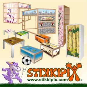 """""""Knuddelwelt"""" in blau Möbelsticker/Aufkleber – M3K18 – passend für die Kommode mit 3 Fächern/Schubladen MALM von IKEA – Bestehend aus 3 passgenauen Kinderzimmer Möbelfolien (Möbel nicht inklusive)"""
