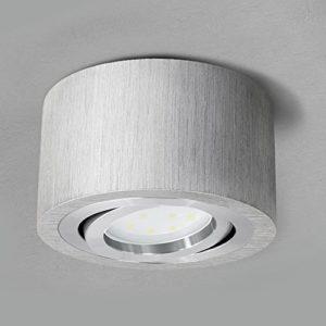 SSC-LUXon® runde LED Deckenlampe Aufbau in Alu gebürstet (flach & schwenkbar) – Spot Ø 90 mm inkl. 5W LED-Modul…