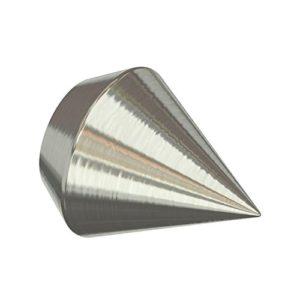 Flairdeco 11011628-0239 Endstücke Doppelkegel für Gardinenstangen 16 mm Durchmesser, Edelstahl-Optik aus Metall, Packungsinhalt 2 Stück