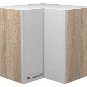 Flex Well 00007845 Eck-Oberschrank Valero Hochglanz weiß, Sonoma Eiche 60 x 54,8 x 60 cm