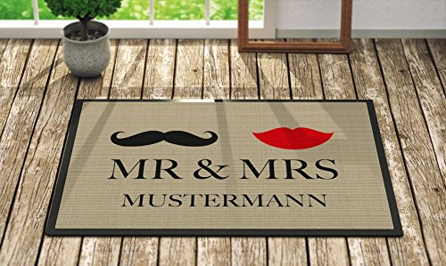 Loose Werbetechnik Fußmatte 'Mr. & Mrs. ' Inkl. Ihrem Nachnamen – Personalisierte Schmutzfangmatte