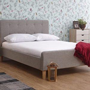 GFW–Die Möbel Warehouse Ashbourne Hellgrau Hopsack Stoff Bett