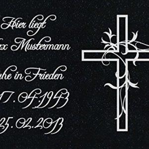 """GRANIT Grabstein, Grabplatte oder Grabschmuck mit dem Motiv """"Kreuz-ag08"""" und Ihrem Text/Daten von LaserArt24"""