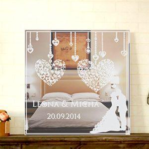 GRAVURZEILE Motivspiegel zur Hochzeit mit Gravur Wanddeko & Wanddekoration Spiegel mit Gravur schöne Geschenkidee zur Hochzeit Hochzeitstag – Personalisierbar